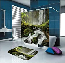 Epinki Polyester Bathroom Curtain Set Green Waterfall Durable Shower Curtain with 12 Hooks Size 150x180CM Shower Curtain f...