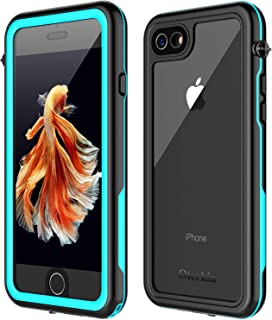 Oterkin iPhone 7/8 Waterproof Case, 2019 All Condition Applicable Full Body Protective Shockproof Sandproof Dirtproof IP68 Underwater Outdoor Waterproof Case for iPhone 7 & iPhone 8 (Blue/Clear)