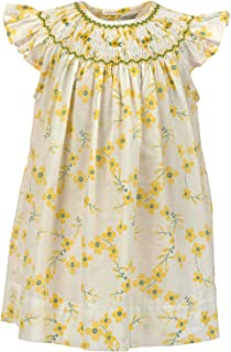 Baby Girls Dress Hand Smocked Bishop Collar with Yellow Printed Flowers