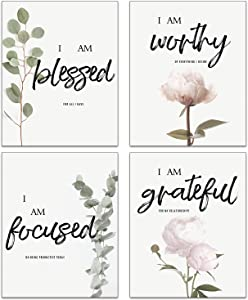 """Inspirational Quote Wall Art Pink Peonies Flower Eucalyptus Leaves Botanical Wall Art Set Of 4 (8""""X10""""Canvas Picture) Modern Wall Decor Office Living Room Wall Painting No Frame"""