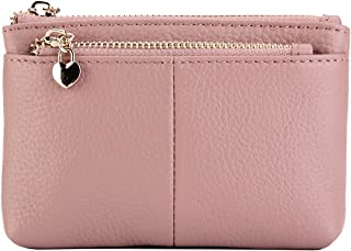 Women Genuine Leather Zip Mini Coin Purse With Key Ring Triple Zipper Card Holder Wallet
