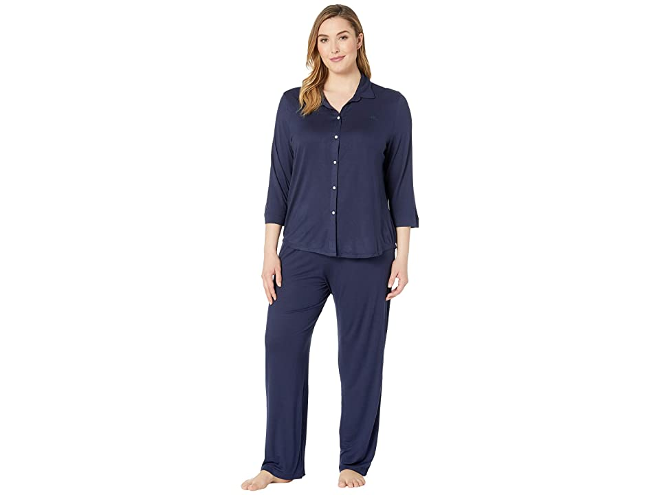 LAUREN Ralph Lauren Plus Size His Shirt Long Pajama Set (Navy) Women