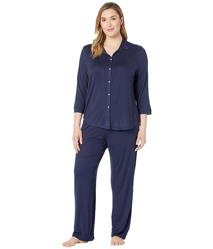 LAUREN Ralph Lauren Plus Size His Shirt Long Pajama Set (Navy) Women
