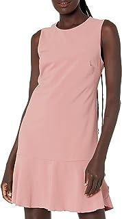 Amazon Brand - Lark & Ro Women's Sleeveless Crew Neck Ruffle Hem Shift Dress