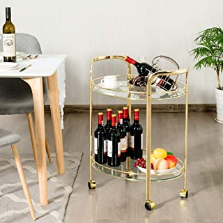 Tangkula Bar and Serving Cart, 2-Tier Glass Round Rolling Bar Cart with 2 Tempered Glass Shelves and 4 Universal Wheels (Gold)
