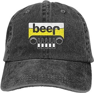 Beer Jeep Adjustable Cowboy Caps Dad Baseball Hats for Womens Men's Black