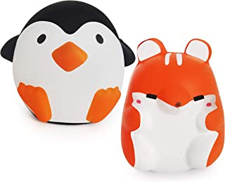CHUCHIK Squishy Toy for Stress Relief. Kawaii Slow Rising and Super Soft Jumbo Squishies with Sweet Scented. (Orange-Black)