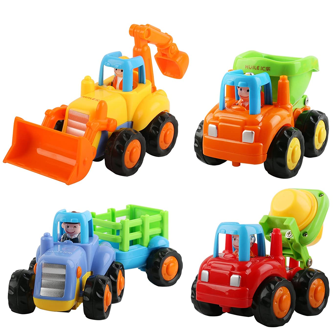 Friction Powered Car Toys, AMILE 4 PCS Push and Go Construction Vehicles Cars, Early Educational Toddler Toys for 1-3 Year Old Kids
