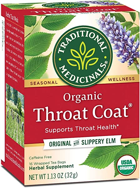Traditional Medicinals Organic Throat Coat Seasonal Tea 16 Tea Bags Pack Of 6