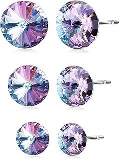 Kesaplan 3 Pairs Crystals Stud Earrings Set, Crystals from Swarovski, 6/8/10MM Round-Cut Crystals Earrings with Steling Silver Post, Hypoallergenic Earrings