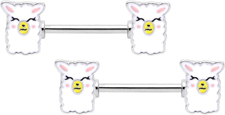 Body Candy 14G Womens Nipplerings Piercing 316L Stainless Steel 2Pc Sweet Llama Nipple Rings 9/16