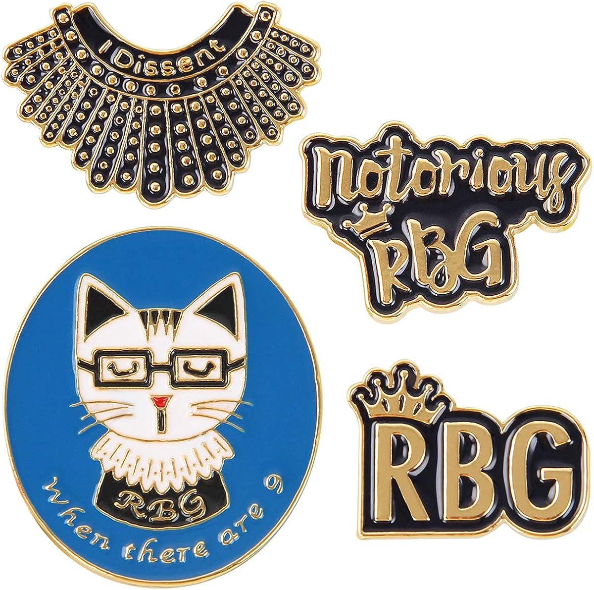 Ruth Bader Ginsburg Set of 4 Notorious RBG I Dissent Collar Enamel Pins