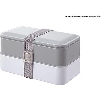 Bento Box Porta Pranzo per Bambini e Adulti Contenitore per Alimenti da Viaggio Oursun Lunch Box con Posate e 2 Scomparti Atossico Inodore BPA Free Lunchbox Microonde