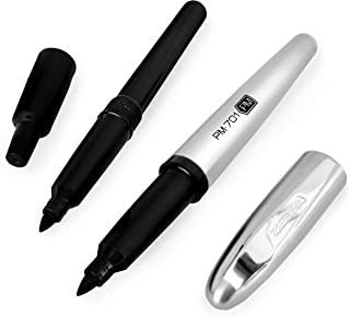 Zebra PM-701 Stainless Steel Permanent Marker - 1mm Line + Free Refill - Black Ink