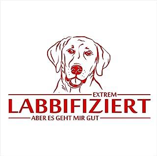 Siviwonder Auto Aufkleber LABRADOR LABBIFIZIERT HUND INFIZIERT Hundeaufkleber 30cm red