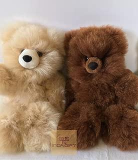 IncaGift Authentic Premium Baby Alpaca Fur Teddy Bear- Handmade Alpaca Fur Stuffed Bear -Made in Peru (10 in(Hide to Hide))