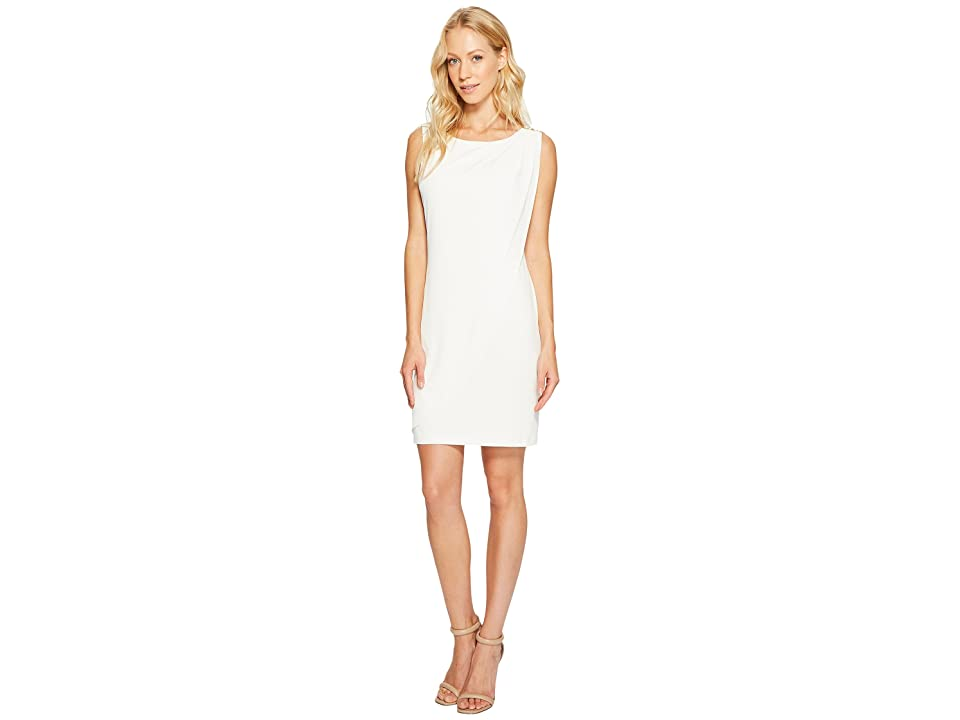 Jessica Simpson Sleeveless Ity Dress with Front Drape (Ivory) Women