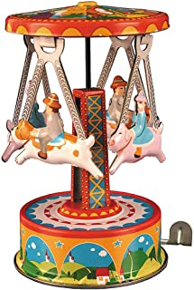 Carousel with Dogs Wind Up Toy - Collectible Tin Merry Go Round w/ Riders