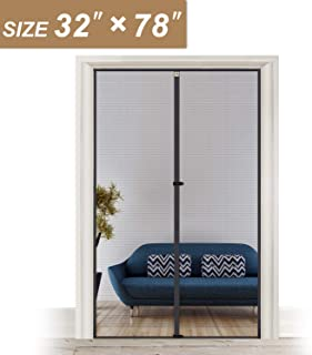 Removable Magnetic Screen Door 32 x 78, Reinforced Fiberglass Insect Fly Mesh for Back Door Fit Doors Size Up to 32