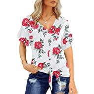 Florboom V Neck Tie Front Knot Tops for Women Ruffle Short Sleeve T Shirts