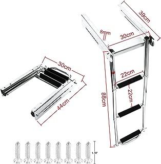 DasMarine 3 Step Ladder Under Platform Sliding Ladder Stainless Steel 316 Spring Loaded Latch with a Carry Handle (3 Step Ladder)