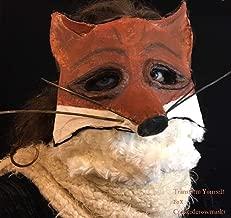 Fox Mask - Kitsune Mask - Paper Mache Animal Masquerade Mask - Adult Halloween Mask - Handmade Custom Role Play Props