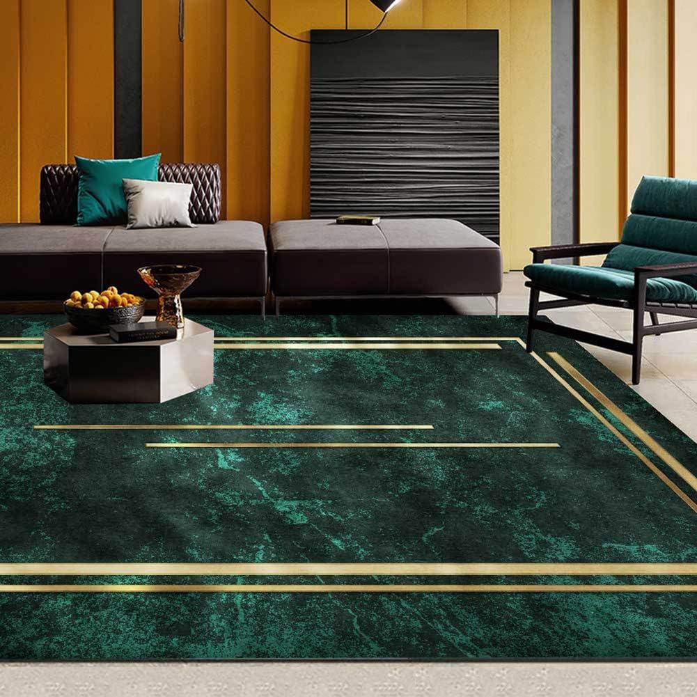 お買い得品 Rug Carpet Dark 公式サイト Green Gold Bedroom Line for Bedside Frame