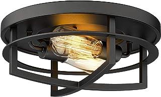 FEMILA Flush Mount Ceiling Light, 13 inch 2-Light Close to Ceiling Light in Black Finish, 4FW01-F BK
