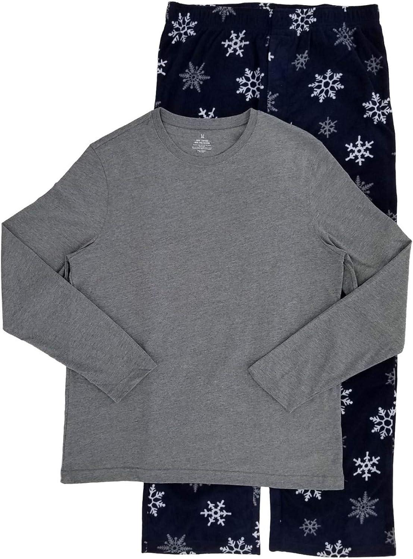 Mens 2 Piece Long Sleeve Shirt & Microfleece Snowflake Pants Pajama Sleep Set