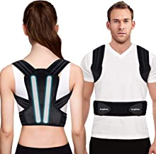 Posture Corrector for Men, Women and Kids, Kungfuren Adjustable and Breathable Back Brace with 2 Removable Rails for Improve Posture and Provide Lumbar Support, Suitable for Waistline 31.5