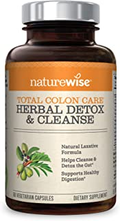 NatureWise Herbal Detox Cleanse Laxative Supplements | Natural Colon Cleanser Herb & Fiber Blend for Constipation Relief, Toxin Rid, Gut Health, Weight Loss Support [2 Month Supply - 60 Capsules]
