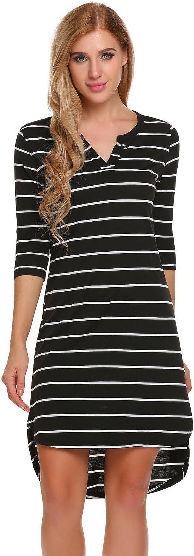 BEAUTYTALK Women's Striped Casual Asymmetrical Hem TShirt Dress