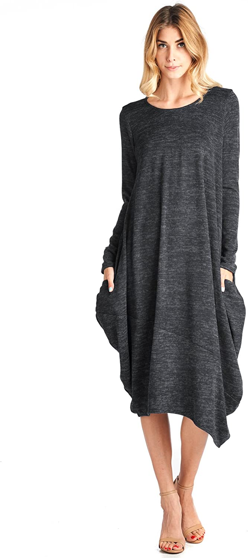 12 Ami Asymmetrical Heathered Sweater Knit Midi Dress (SXXL)  Made in USA