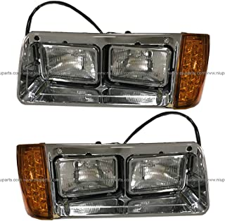Headlight with Amber LED Turn Signal Light and Chrome Bezel with Back Housing Base - Driver and Passenger Side (FIt: 1993-2007 Freightliner FLD 112 120)
