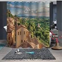 AngelDOU Tuscan Printed Fabric Shower Curtain Sunset Rural Landscape Cypresses Forest Hills Greenery Blue Sky Clouds Home Decorations for Bathroom