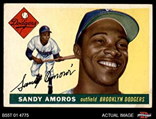 1955 Topps # 75 Sandy Amoros Brooklyn Dodgers (Baseball Card) Dean's Cards 3 - VG Dodgers