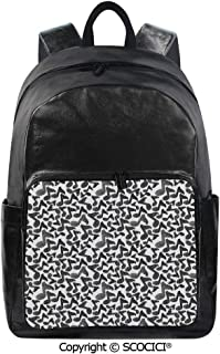 SCOCICI Backpack Lightweight School Bag Song Notes in Sketch Style Doodle Murky