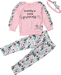 Daddy's Little Princess Long Sleeve Winter Sweatshirt Pullover Tops with Floral Sewing+Floral Long Pants+Headband