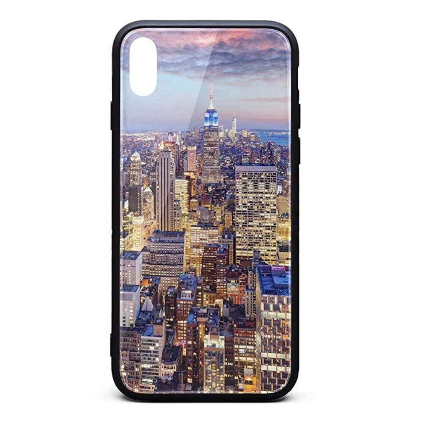 Phone Case for iPhonexs Pretty New York City Skyline Tempered Glass Black Anti-Scratch TPU Rubber Bumper Shock Accessories for Womens Ladies Back Cover