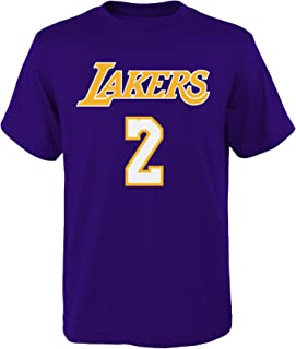 OuterStuff Lonzo Ball Los Angeles Lakers Youth Purple Name and Number Player T-Shirt Small 8