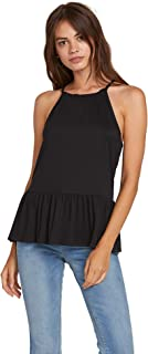Volcom Women's Ruffled Rider High Neck Top with Racer Back