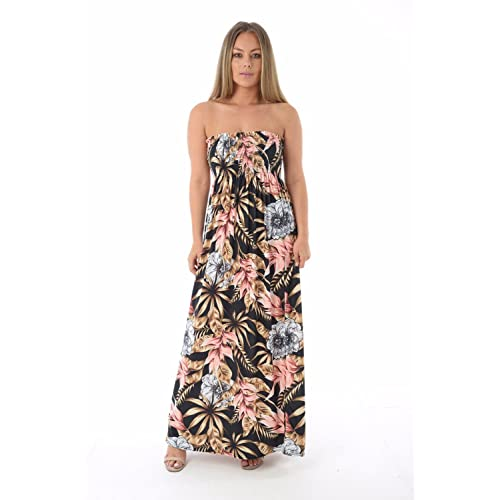 76a2a9084e790 mix_lot NEW WOMENS SHEERING GATHER BOOBTUBE BANDEAU LONG SUMMER STRAPLESS  LADIES MAXI DRESS SMALL MEDIUM PLUS