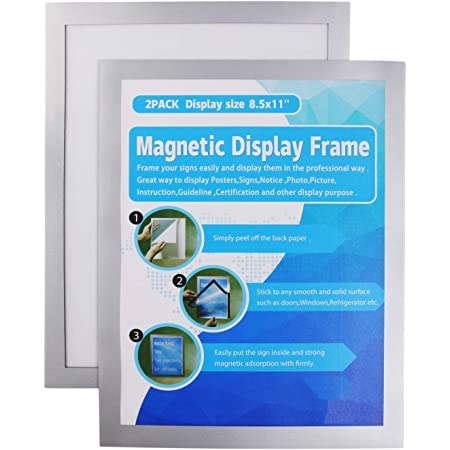 MFoffice Window Sign Holder 8.5x11'' - Plastic Picture Frames - Double Sided and Adhesive for Wall/Door/Refrigerator/Cupboard Display Frame,Silver,Pack of 2