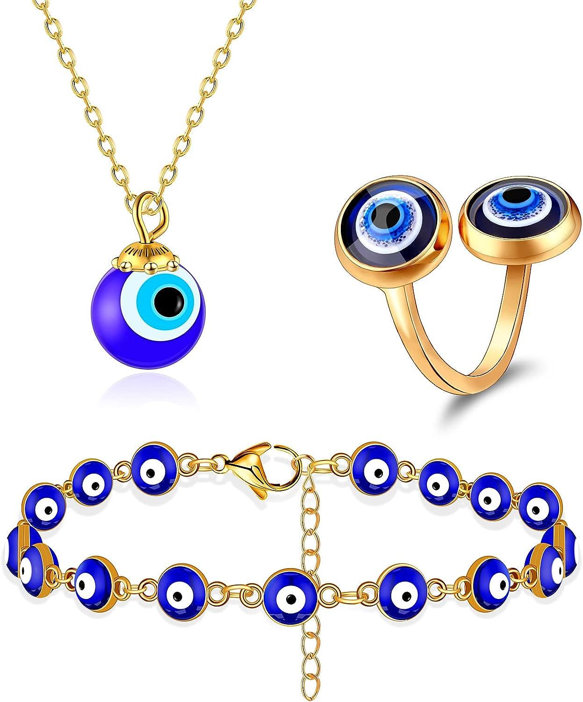 3 Pieces Evil Eye Necklace Bracelet Ring Set Blue Evil Eye Chain Necklace Evil Eye Beaded Bracelet Blue Eye Ring for Women Jewelry