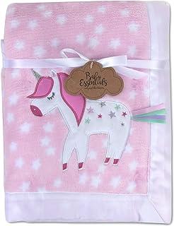 Baby Essentials 30x40 Fleece Baby Blanket with Satin Trim for Boys, Girls, and Unknown Gender Baby (Unicorn)
