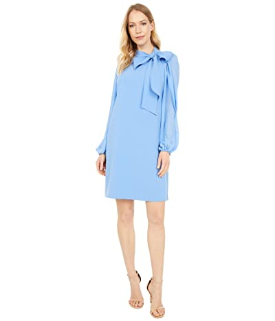 Vince Camuto Crepe Bow Neck Shift Dress with Chiffon Sleeves (Periwinkle) Women