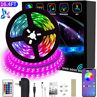 LED Strip Lights Color Changing LED Strip Lights 16.4ft SMD 5050 RGB Light Strips with Bluetooth Controller Sync to Music Apply for TV Bedroom Bar Party and Home Decoration (16.4FT)