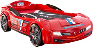 Cilek Kids Room Twin Size Kids Race Car Bed Frame Remote Controlled, LED Headlights, Engine Sound, License Plate, Red