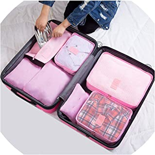 FanRen 7Pcs/Set Travel Organizer Storage Bags Portable Luggage Organizer Clothes Tidy Pouch Suitcase Packing Set Storage Cases,Pink