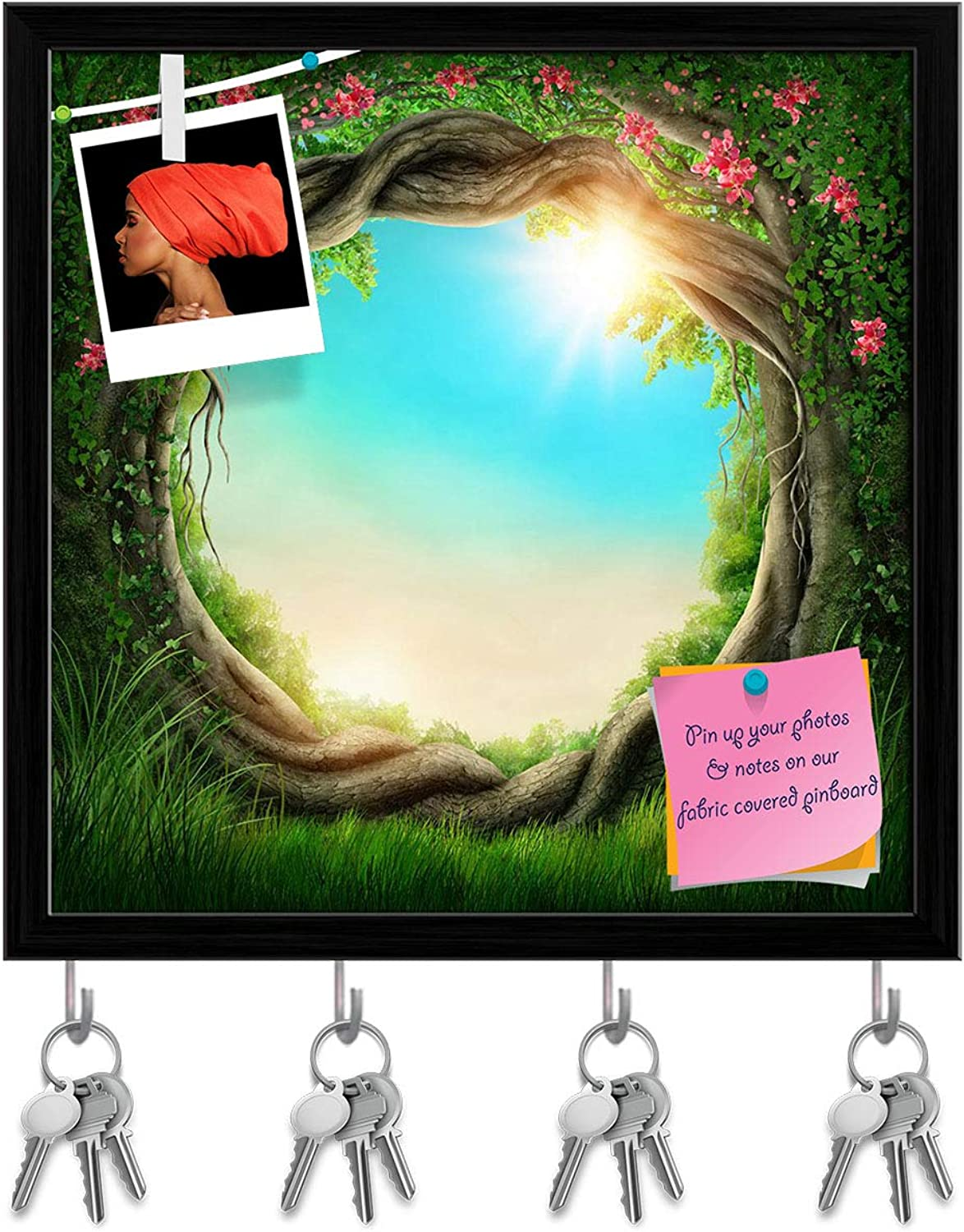 Artzfolio Enchanted Dark Forest at The Spring Key Holder Hooks   Notice Pin Board   Black Frame 20 X 20Inch